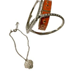 (BUNDLE) Orange and Silver Diamond Bracelet